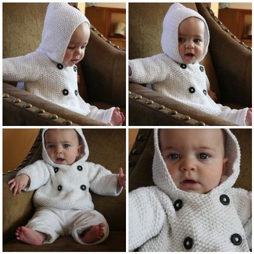 Seed stitch baby jacket