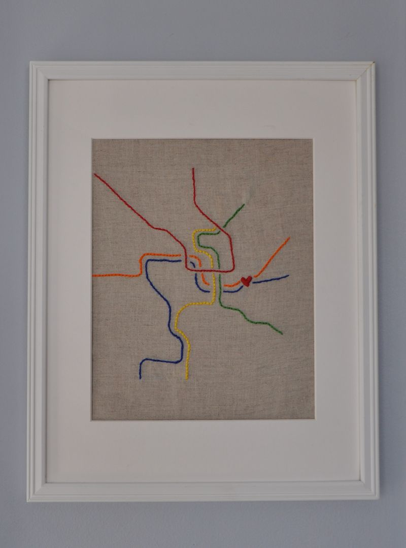 Dc metro embroidery framed