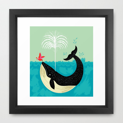 Bird & whale framed print