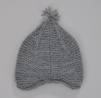 Garter ear flap hat seam